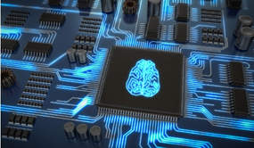 Image of computer chip representing a brain
