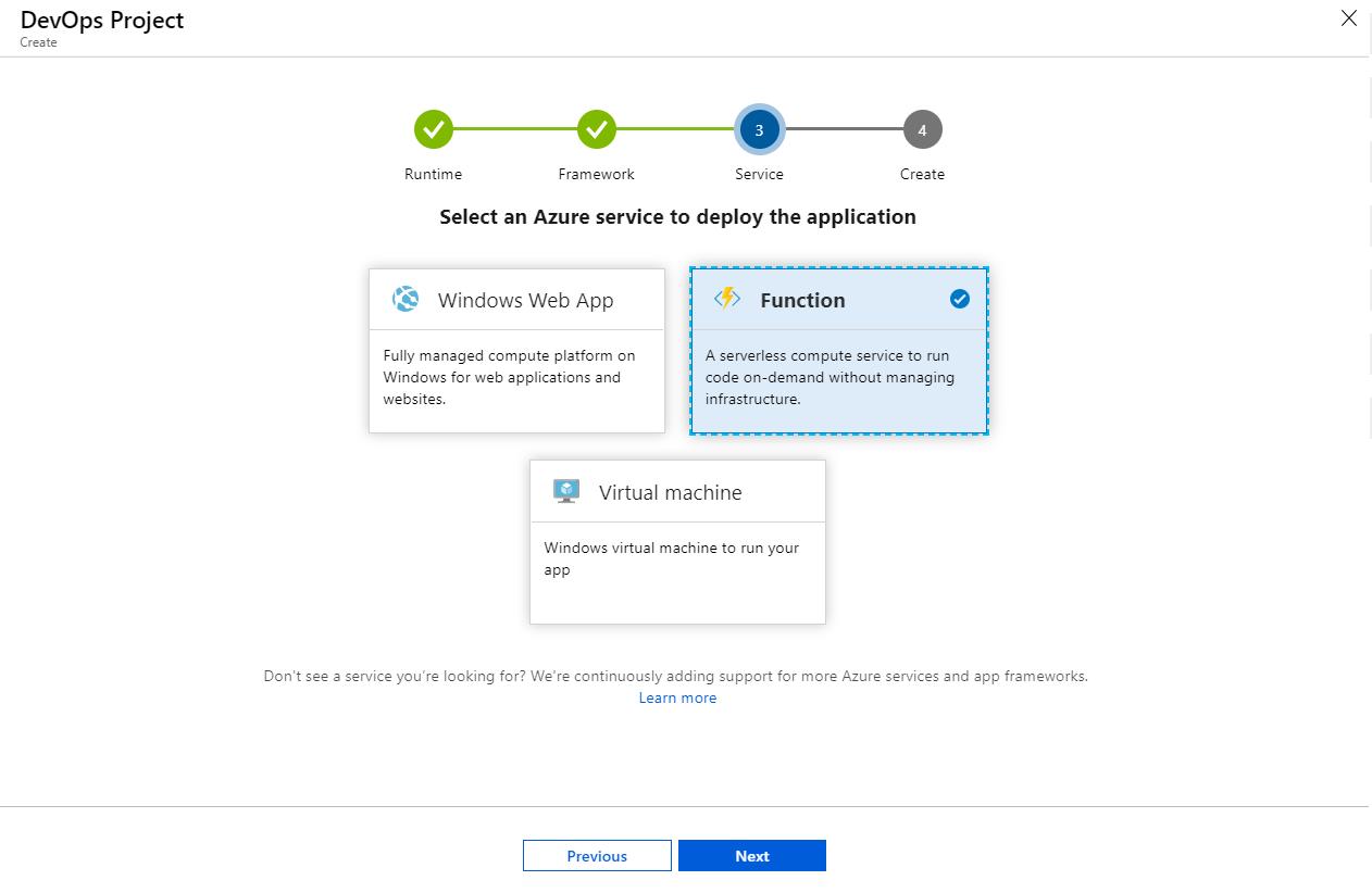 Choose an application framework screenshot