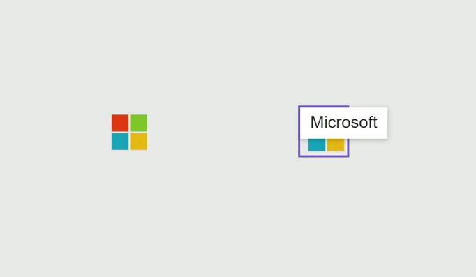Computer Vision のロゴ検出器による、Microsoft のロゴの検出