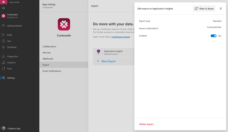 Visual Studio App Center との統合