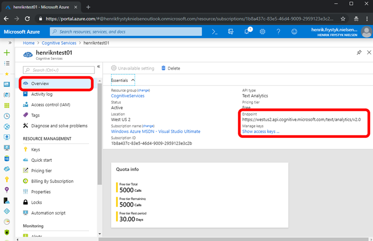 Screenshot showing the retrival of the endpoint and API key