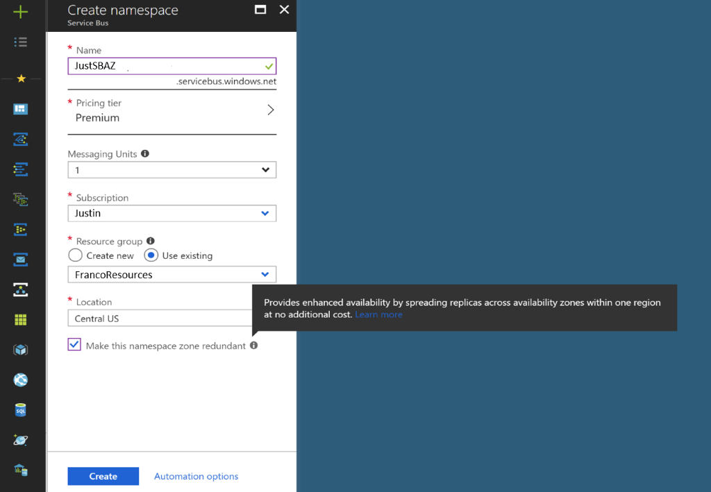 Azure Service Bus Premium in the Azure portal