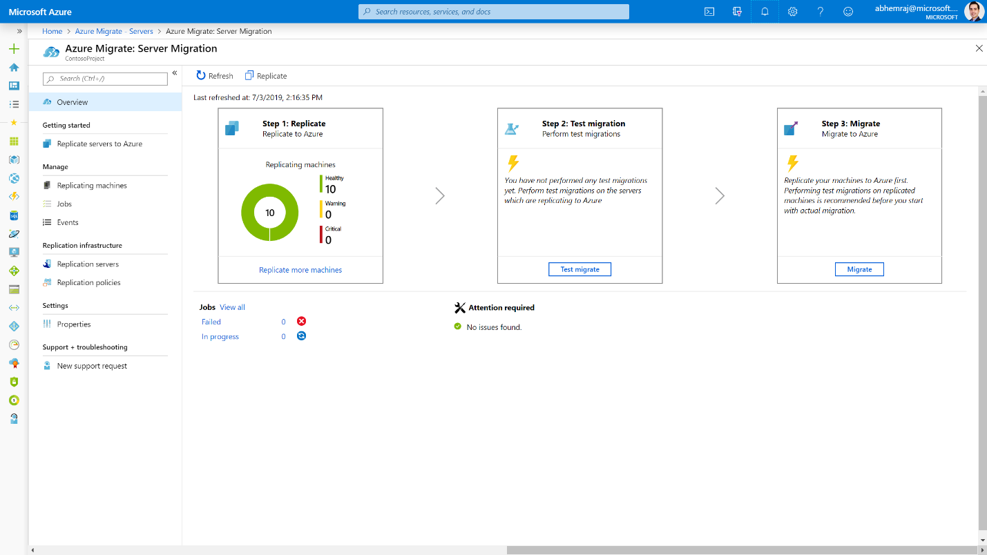 Microsoft Azure portal displaying the Server Migration overview