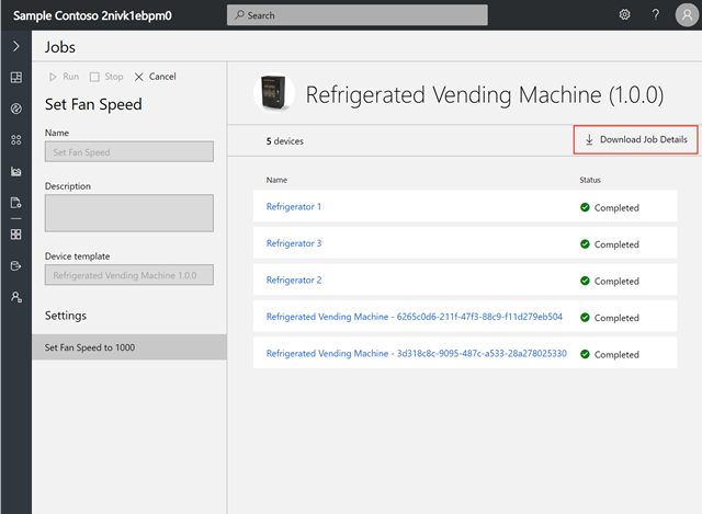 Screenshot showing an example of download details of Jobs in Azure IoT Central