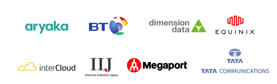 An image showing the logos for our partners including: Tata Communications, Aryaka, InterCloud, Megaport, British Telecommunications, Internet Initiative Japan, Nippon Telegraph and Telephone Corporation (NTT), Equinix