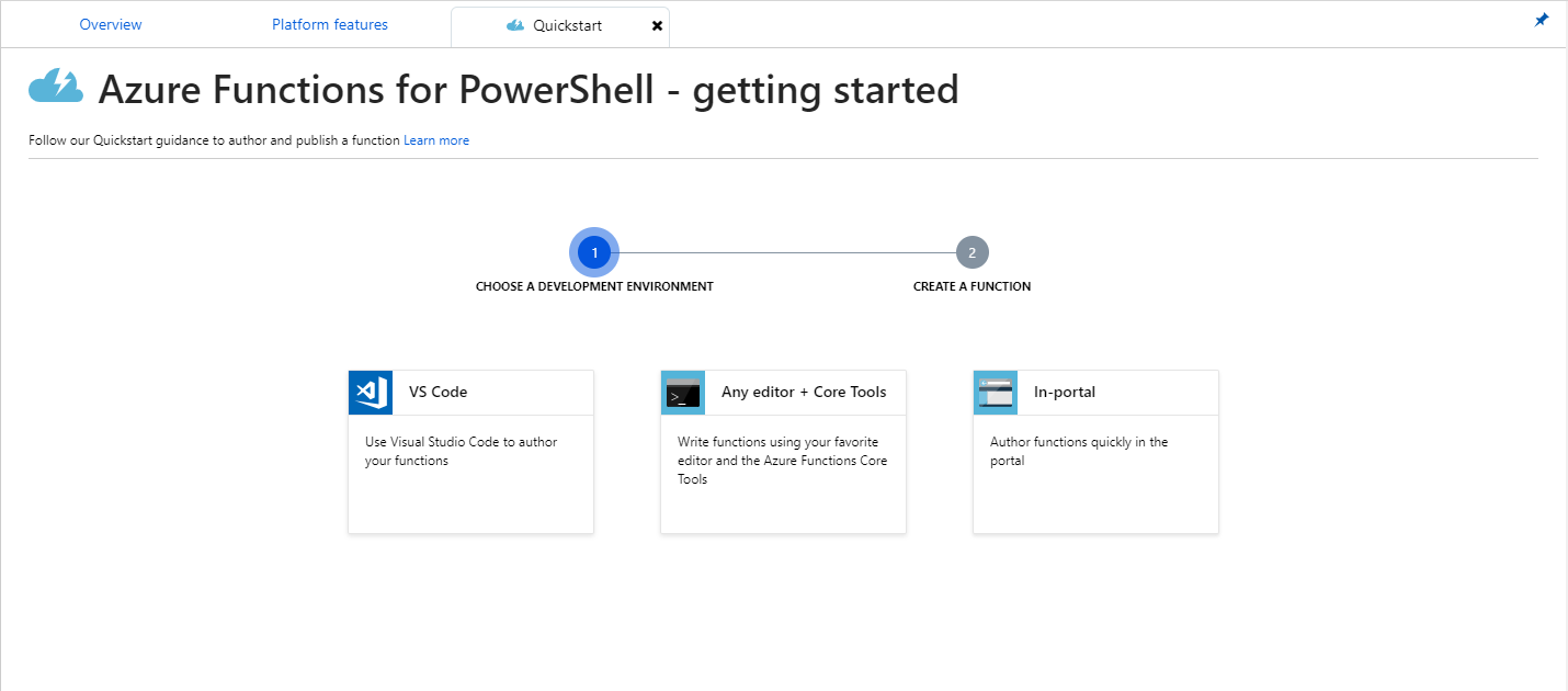 Quickstart for Azure Functions for PowerShell