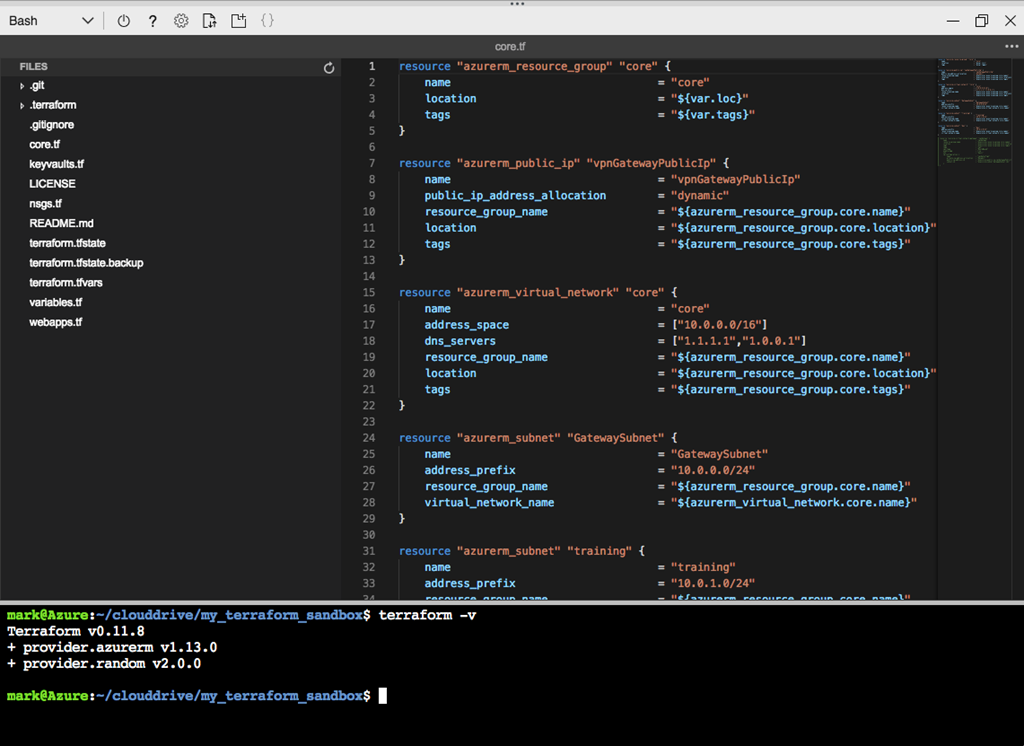 Screenshot of working with Terraform in Azure Cloud Shell