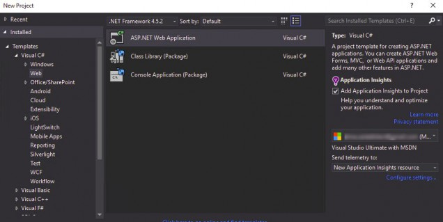 Application Insights checkbox in File New Dialog