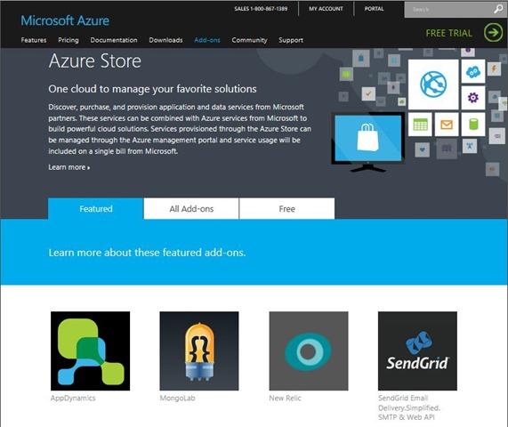 Azure Store landing page