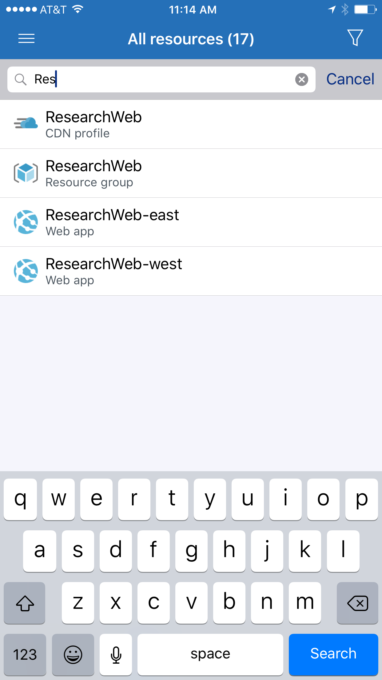 Search for resources and resource groups by name