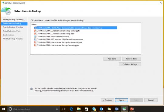 Windows 10 files and folder backup using Azure Backup