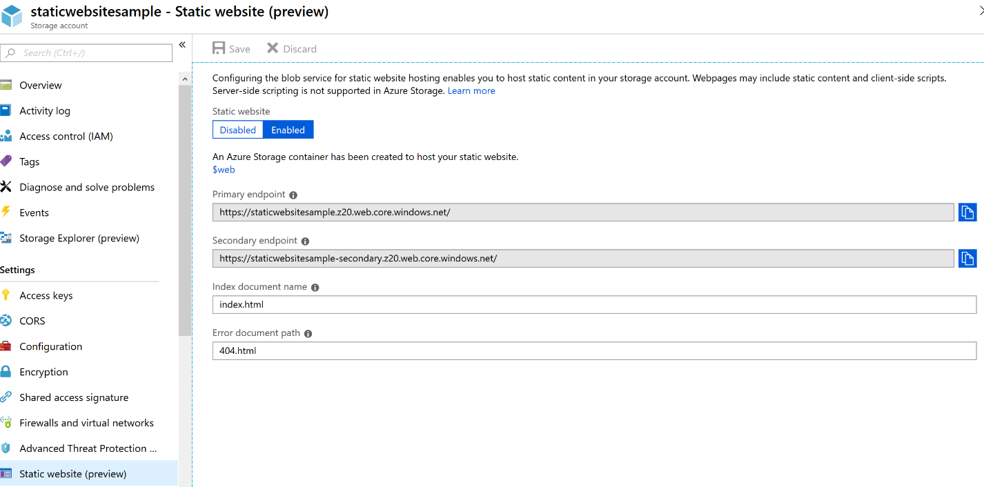 Screenshot from the Azure portal showing the setup of a static website on Azure Storage
