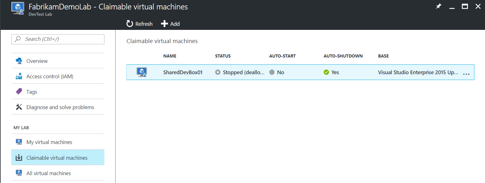 Claimable virtual machines list in resource menu