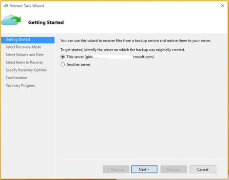 Windows 10 restore using Azure Backup