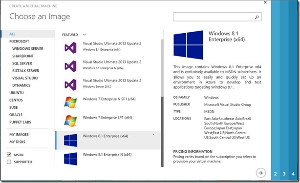 Windows Client images in Azure image gallery