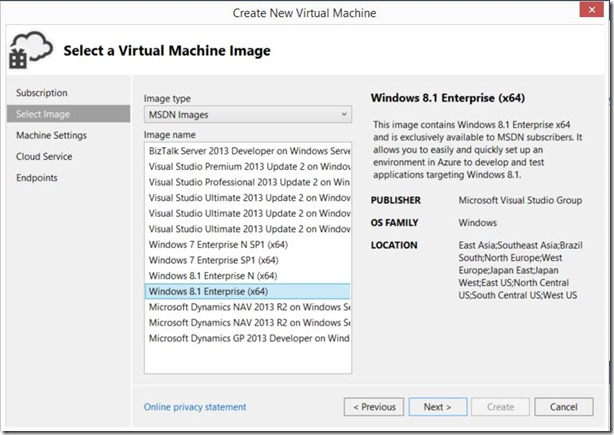 Create Virtual Machine from Visual Studio Server Explorer