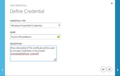 Add Credential Wizard, filled out