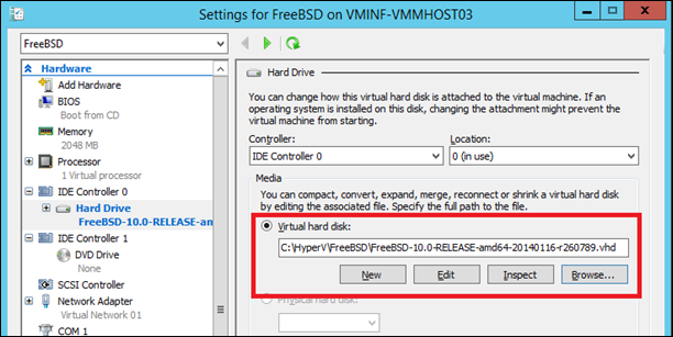 Attach a VHD to a virtual machine