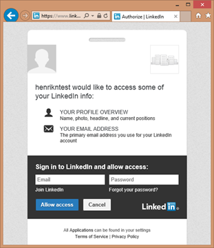 Using the LinkedIn LoginProvider on service running locally.