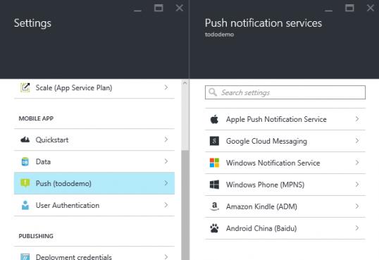 Mobile App push settings
