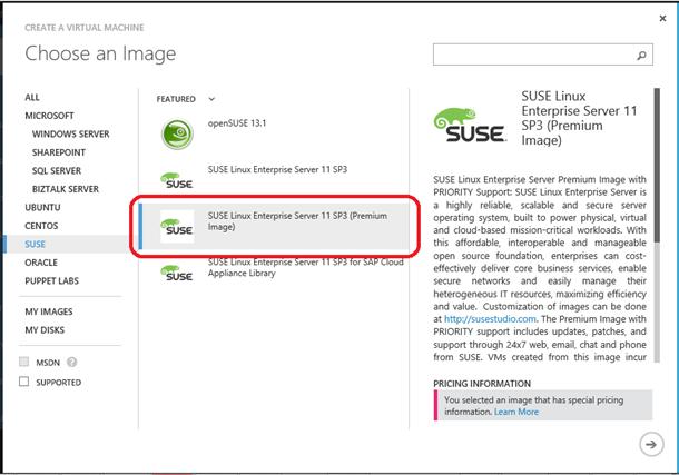 SLES Premium Image in Azure Portal