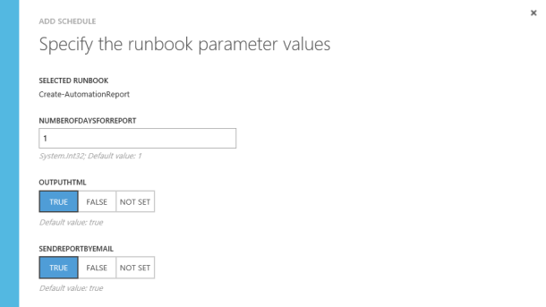 Set input parameters for the runbook