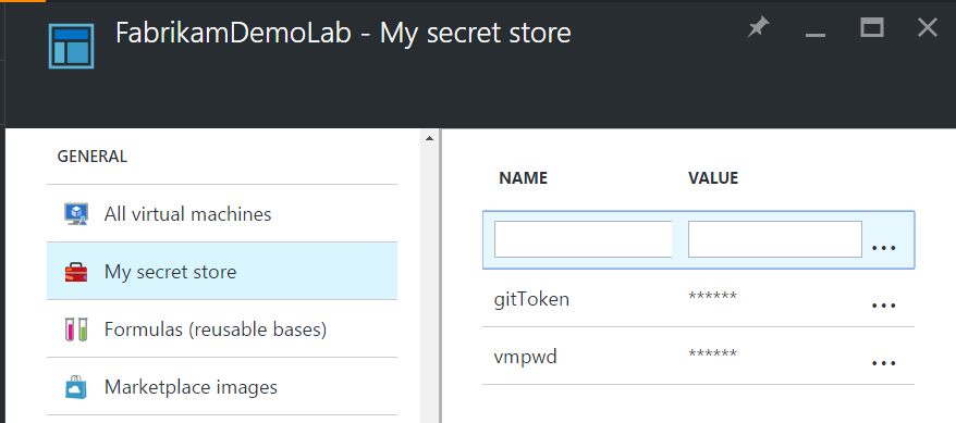 Manage your secrets in the secret store
