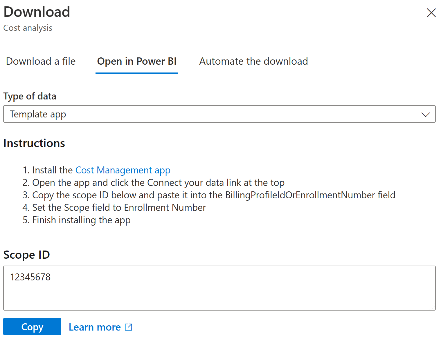 Open in Power BI option available in the Download pane from the cost analysis preview