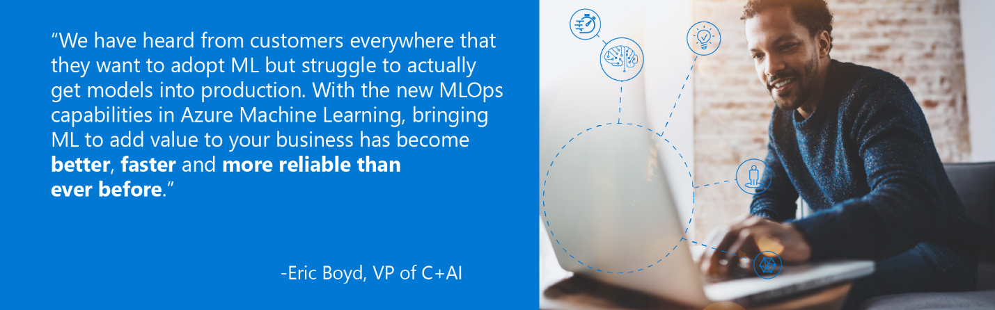 "Quote from Eric Boyed, VP of C+AI - ""We have heard from customers everywhere that they want to adopt ML but struggle to actually get modles into production. With the new MLOps capabilities in Azure Machine Learning, bringing ML to add calue to your business has become better, faster, and more reliable than ever before."""