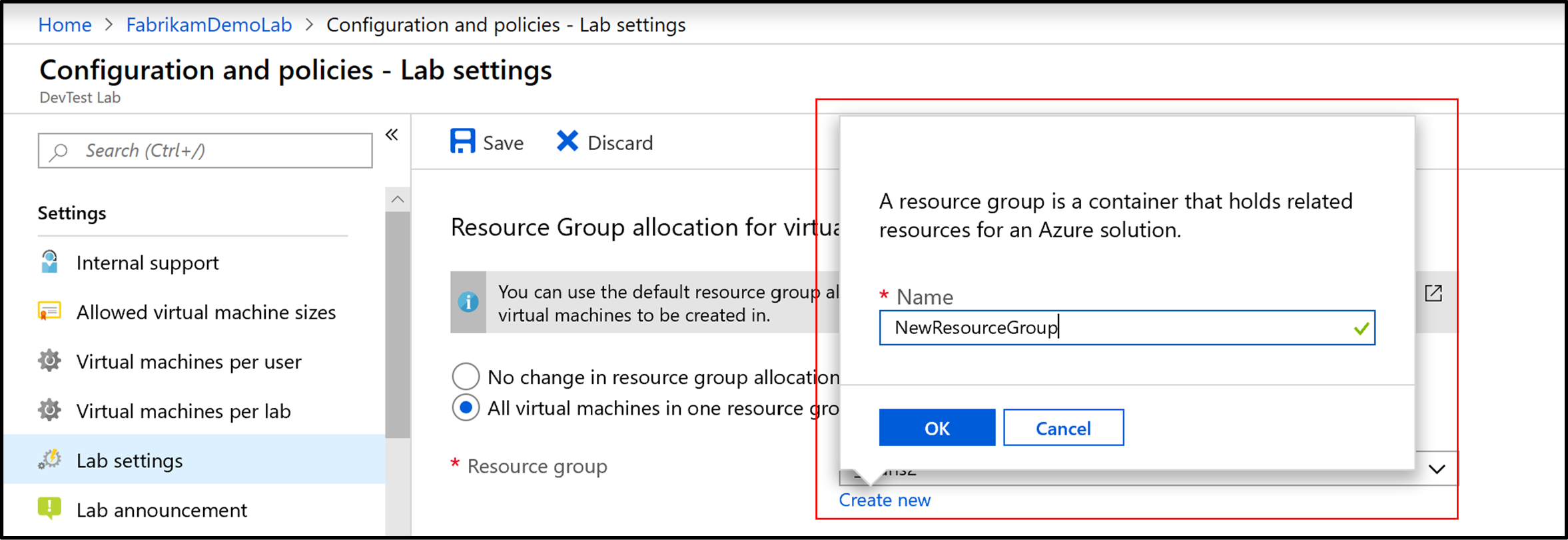 Screenshot of entering a new resource group