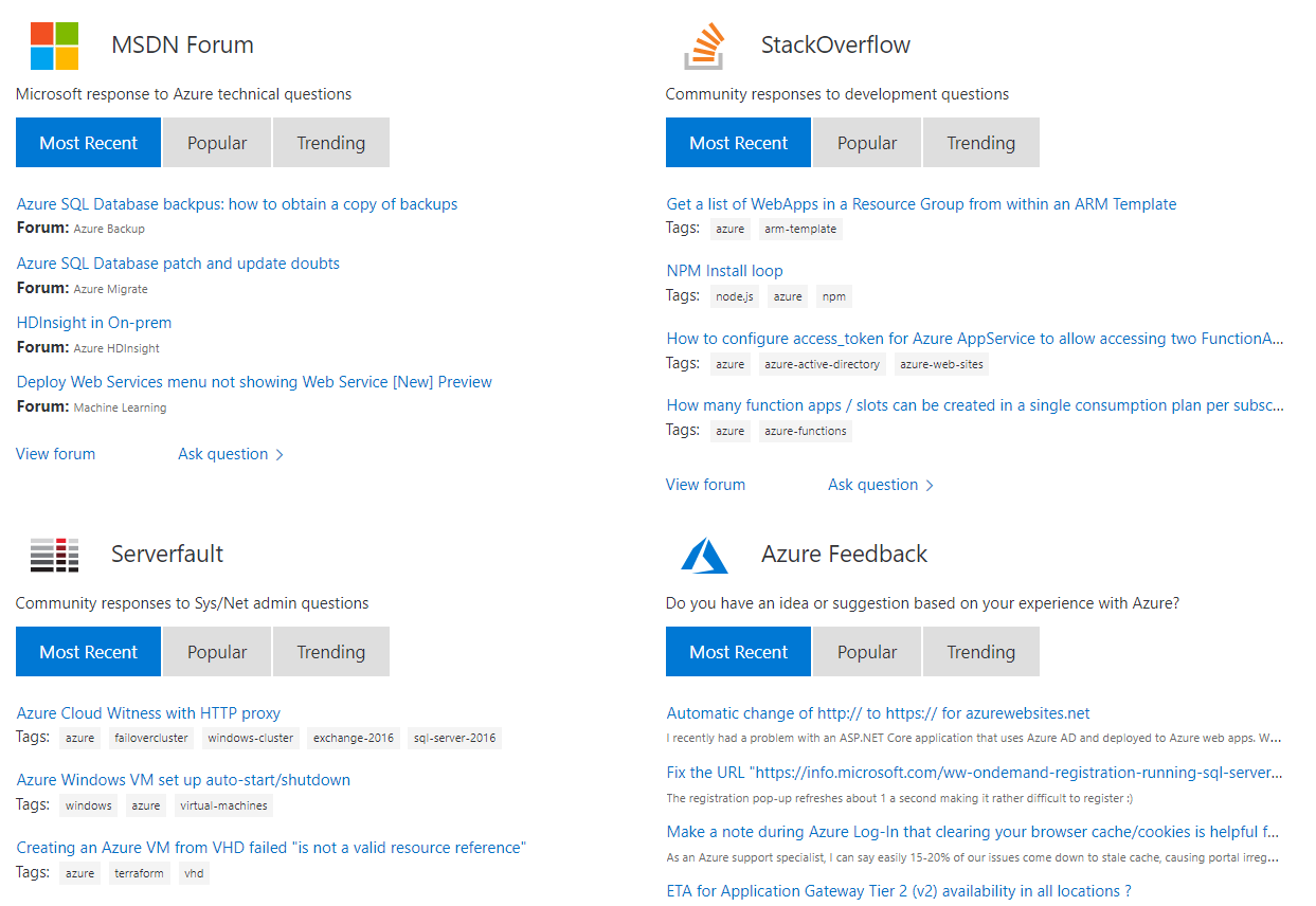 Screenshot of the various forums which developers can find support