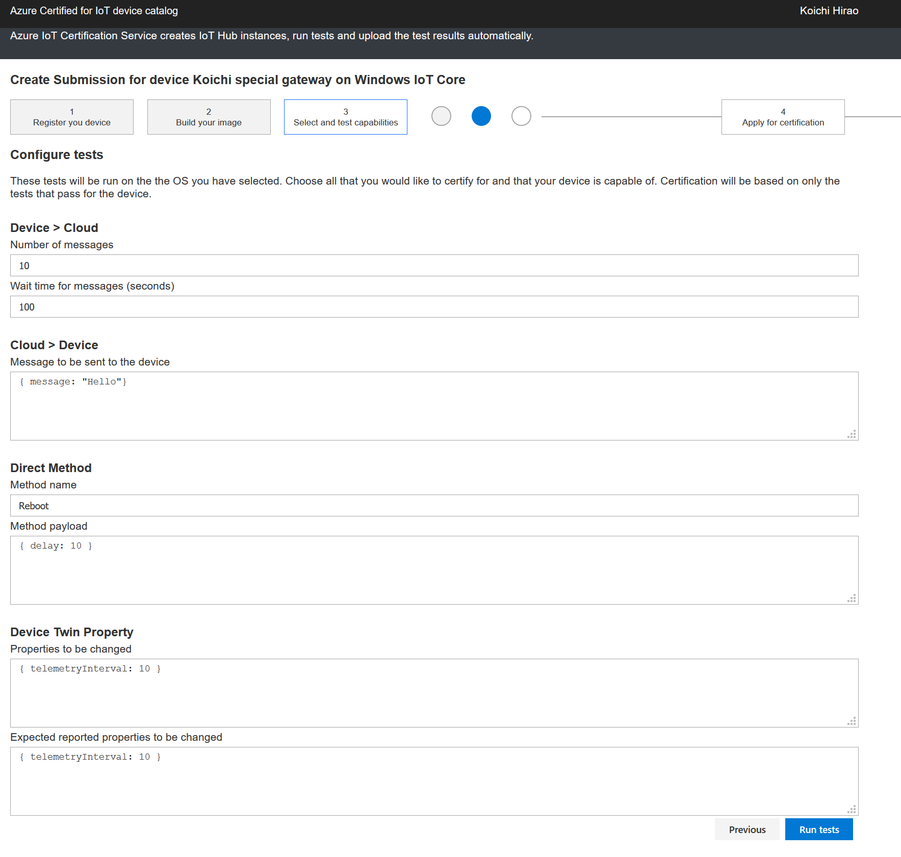 Example page that shows the ability to configure each test case
