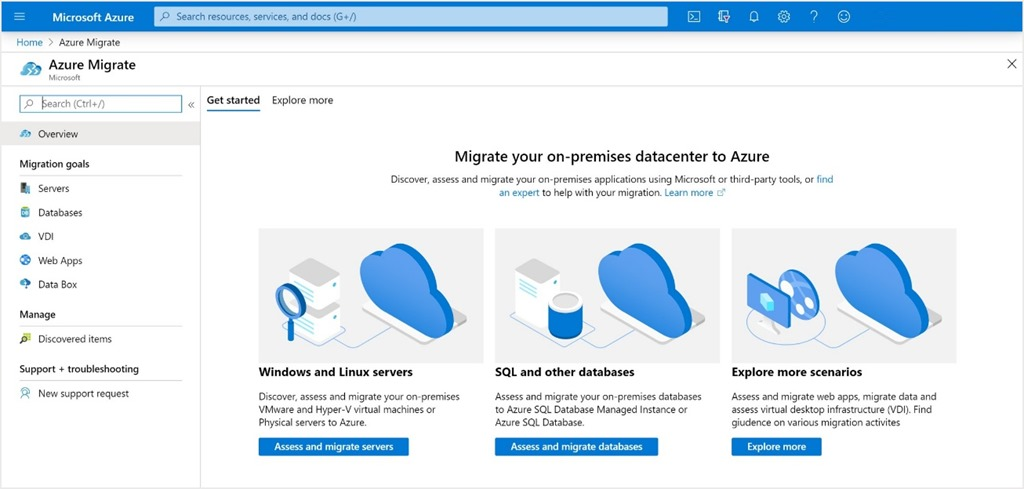 The Azure Migrate homepage.