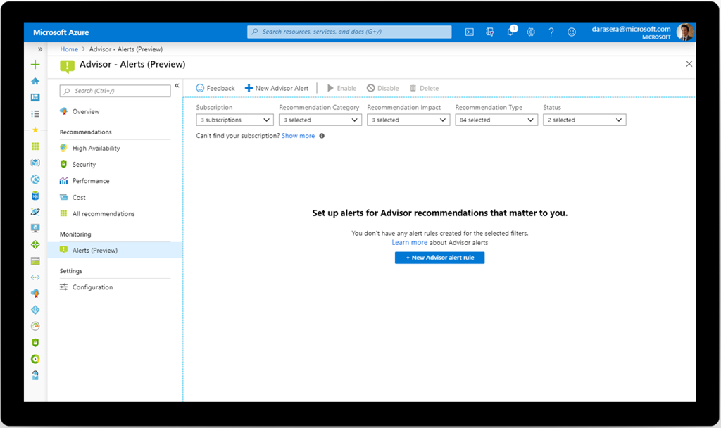An image of the Microsoft Azure Advisor Alerts (preview) page.