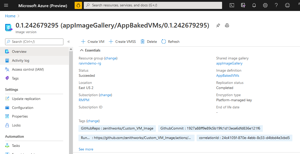 Virtual machine image gallery.