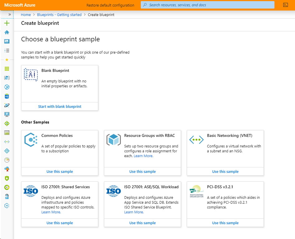 Azure Blueprint configuration screen.