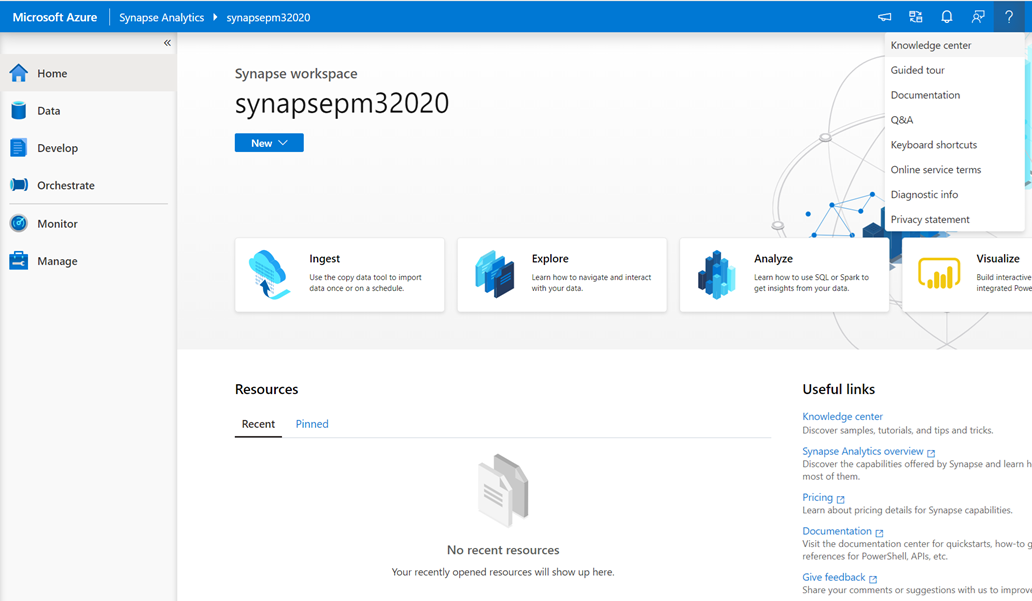 Azure Synapse workspace homepage displaying where to access the Knowledge center, from both useful links and the help bar in the main navigation.