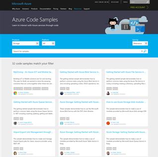 Microsoft Azure Storage samples landing page