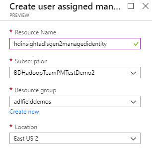 Creating a user managed identity