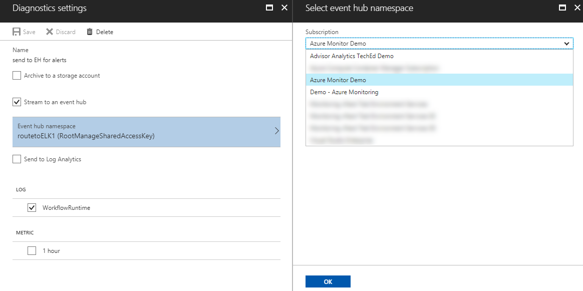 Azure cross subscription diagnostic setting
