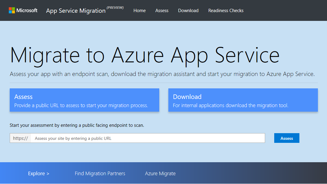Screenshot of App Service Migration Tool landing page