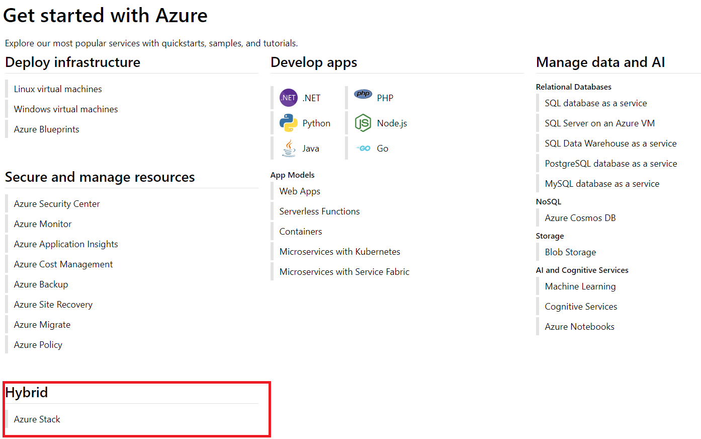Screenshot of the Get Started with Azure dashboard and Azure Stack under the Hybrib section