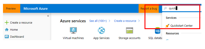 Screenshot of Azure portal search for quickstart center