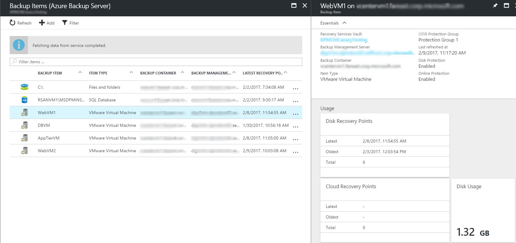 Azure Backup Server - central monitoring