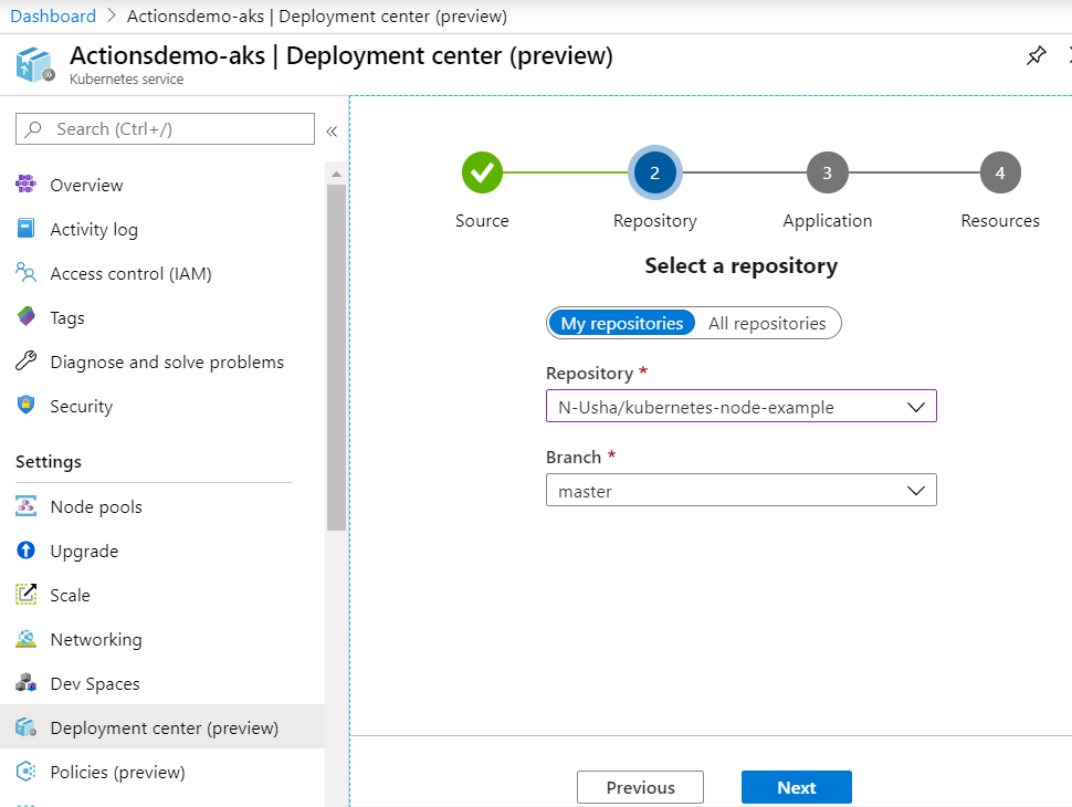 Azure Portal Deployment center