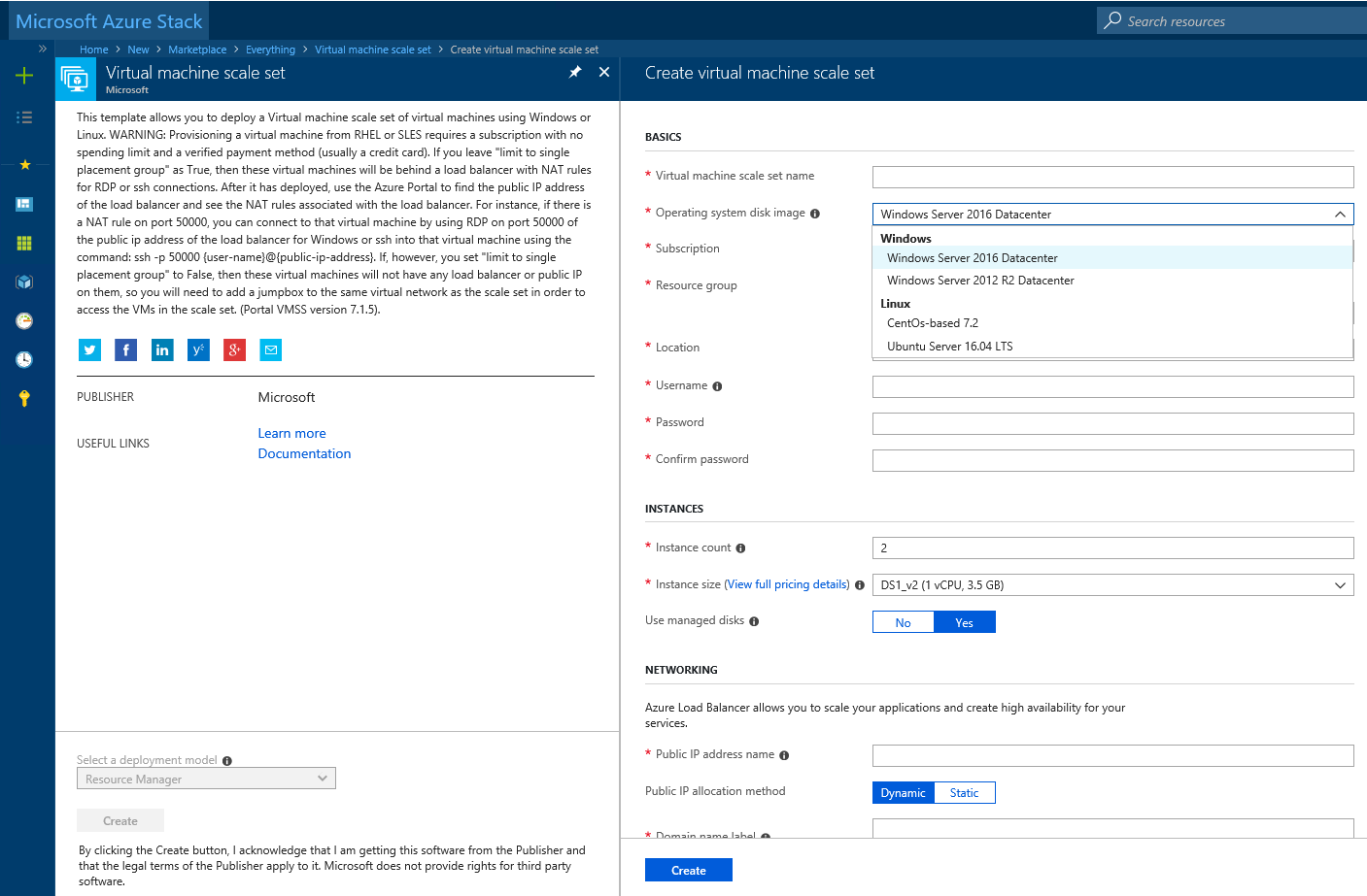 Create a virtual machine scale set in Microsoft Azure Stack
