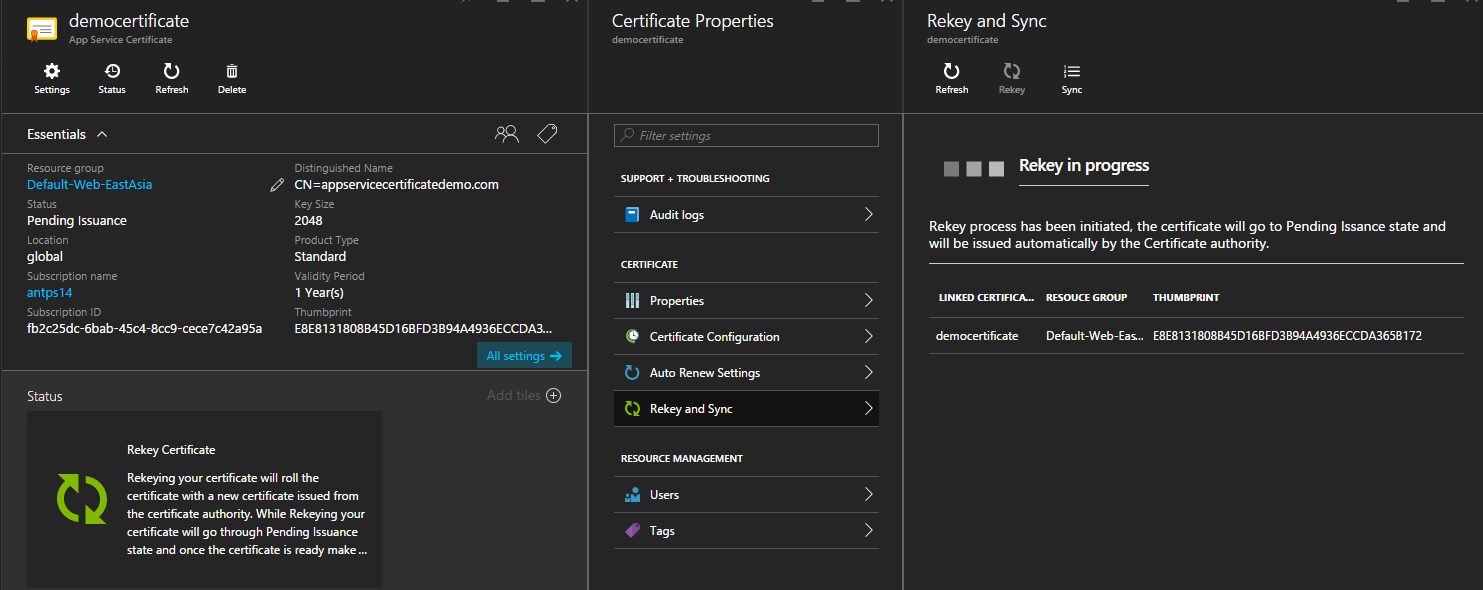 App Service Certificate ReKey in Progress