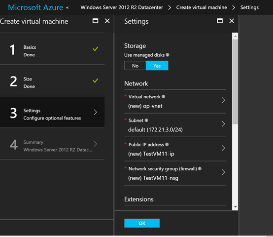 Microsoft Azure Create virtual machine