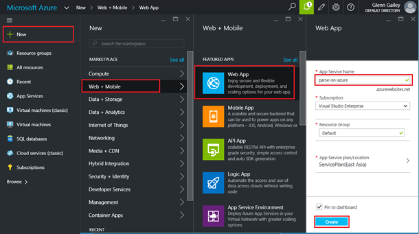 Create new app service in Azure portal
