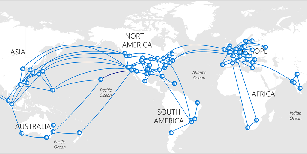 How Microsoft Builds Its Fast And Reliable Global Network Blog - Microsoft world map
